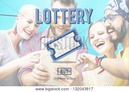 Lottery Bet Betting Jackpot Lucky Money Scratch Concept