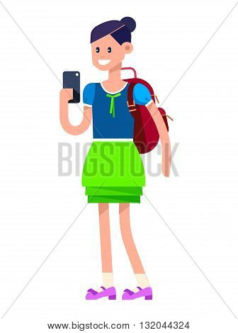 Vector detailed character flat design child student. Kid smiling holding Gadgets and backpacks. Primary or elementary school child character. Vector child character isolated on white background