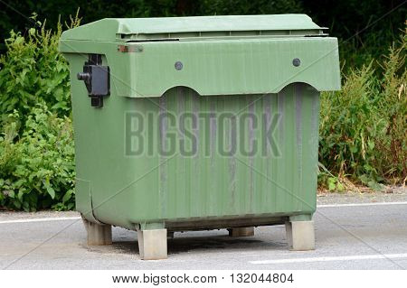 image of garbage container outdoor close up