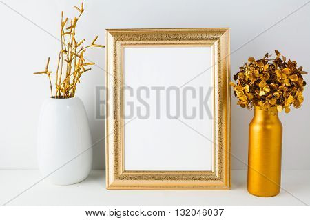 Frame mockup with golden decor. Frame mockup. Gold frame mockup