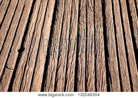 Closeup of old brightly lit wooden planks texture