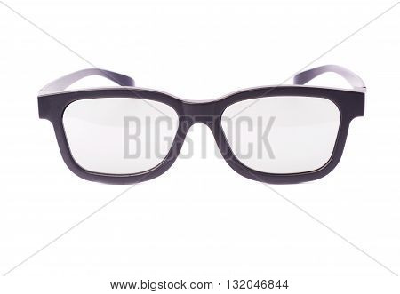 Glasses in a black plastic frame isolated over the white background