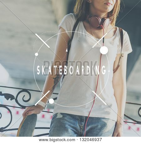 Skateboard Skater Teenager Street style Concept