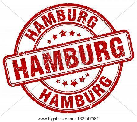 Hamburg red grunge round vintage rubber stamp.Hamburg stamp.Hamburg round stamp.Hamburg grunge stamp.Hamburg.Hamburg vintage stamp.