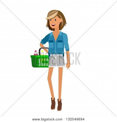 Concept illustration for Shop, supermarket. Vector character woman chooses products. Healthy eating and eco food in supermarket. Vector flat illustration for supermarket.