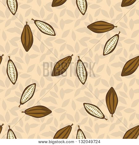 Cacao beans seamless pattern. Chocolate background. Organic raw cacao beans beige pattern.