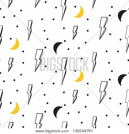 Lightning seamless pattern. Black and white hipster pop art dotted vector background. Lightning and moon on white.
