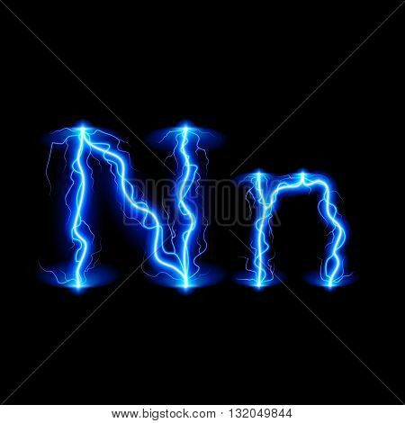 Uppercase and lowercase letters N in lighting style