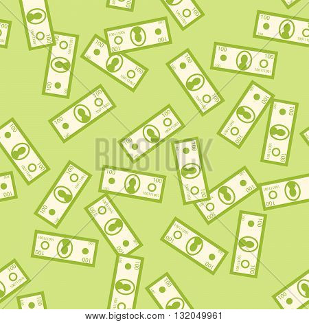 Money green seamless vector pattern. Flying money denomination on green background. Wealth symbol.
