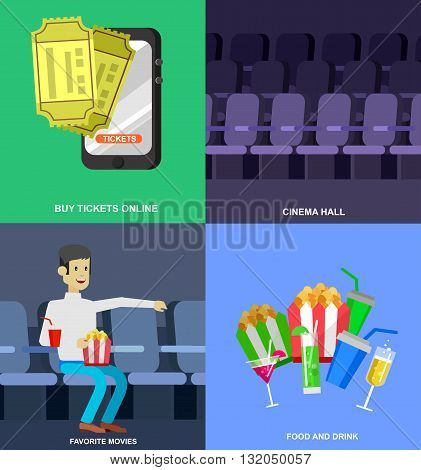 Cinema movie poster or banner template, popcorn, 3D glasses, concept banner. Cinema hall. Rest in cinema with family. Cute vector character people in cinema