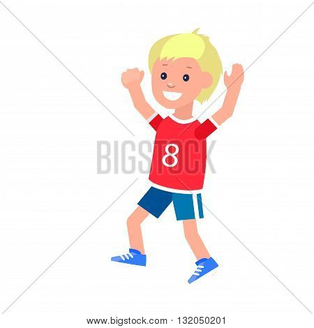 Cute vector character child Boy in motion. Cheerful child. Happy kid illustration. Detailed character child. Vector for Celebration children day, fun child.