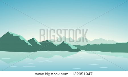 illustration of calm green tone color mountains with lake