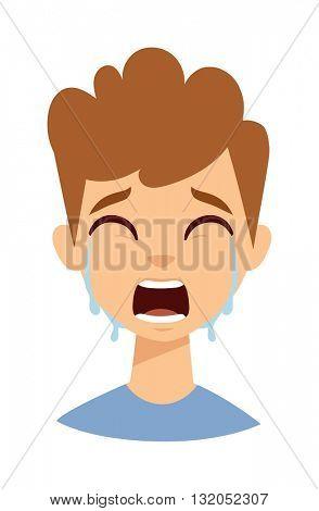 Crying boy vector illustration.