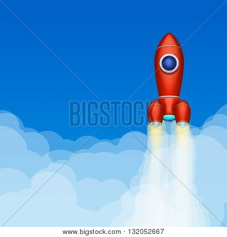 illustration of red spaceship flying up above clouds