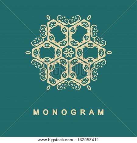 Elegant monogram design. Vector linear frame and monogram, monogram logo template. Trendy monogram and linear frame. Monogram and calligraphic elegant ornament elements. Identity design