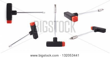 Set of t-shape screwdriver without bit isolated over white background, different foreshortenings