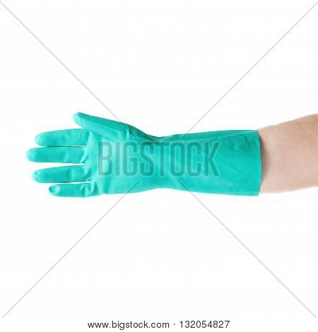 Hand in rubber latex green glove  with open gesture over white isolated background