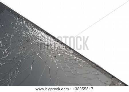 black smartphone with broken screen on white with copy space
