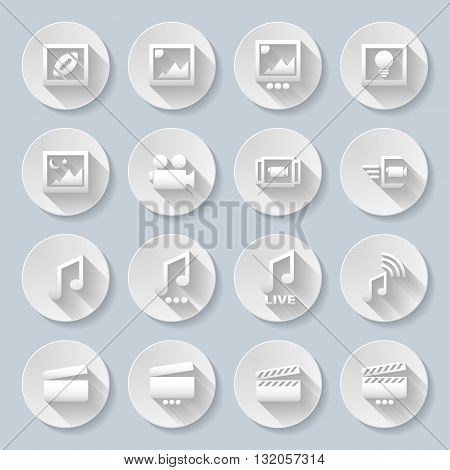 Set of flat round media icons on the gray background
