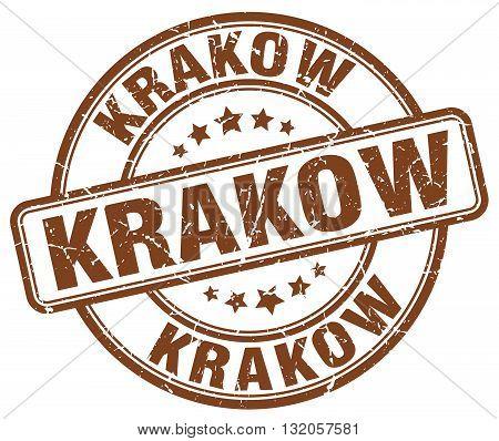 Krakow brown grunge round vintage rubber stamp.Krakow stamp.Krakow round stamp.Krakow grunge stamp.Krakow.Krakow vintage stamp.