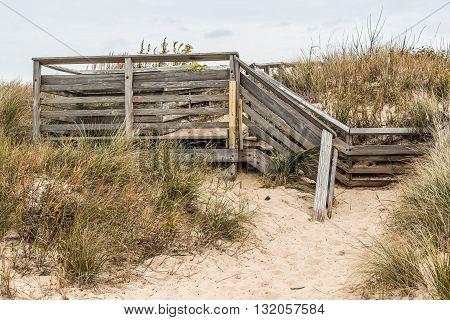Stair access to beach at First Landing State Park in Virginia Beach, Virginia.