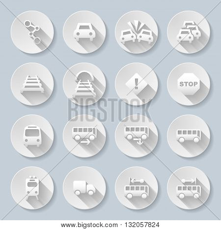 Set of flat round icons with transports on gray background