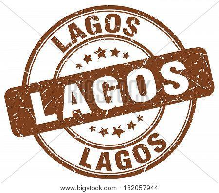Lagos brown grunge round vintage rubber stamp.Lagos stamp.Lagos round stamp.Lagos grunge stamp.Lagos.Lagos vintage stamp.