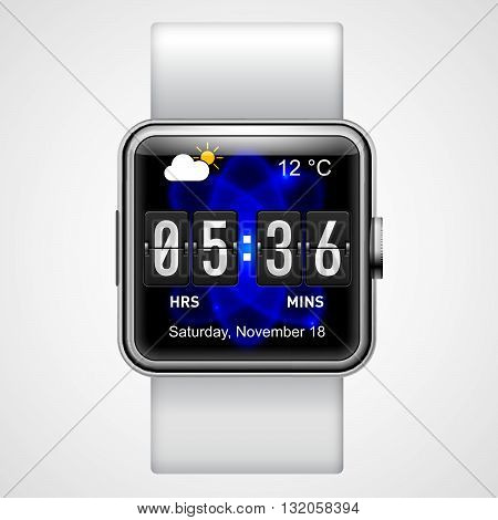 Smart digital wrist watch with square screen on white background