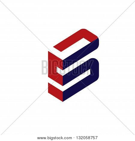 abstract letter S and B, Letter S 3d flat vector