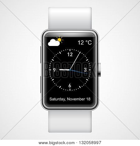 Smart analog wrist watch with black screen on the white background