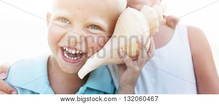 Adolescence Beach Childhood Happiness Portrait Concept