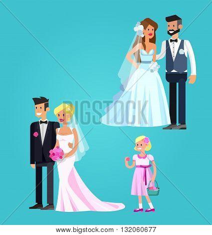 Happy cute wedding couple. Vector wedding detailed character, wedding  beautiful  smiling bride and groom. Cool wedding flat illustration. Vector wedding