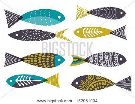 Retro background, stylised fish, eps10 vector