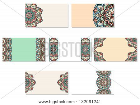 Set of business cards with mandala. EPS 10.