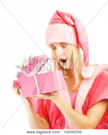 Beautiful mrs. Santa with a gift box