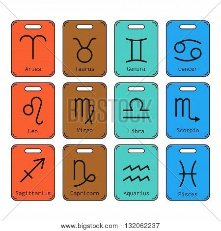 Signs of zodiac, flat colored icons for horoscope and predictions. Vector illustration