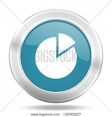 chart icon, blue round metallic glossy button, web and mobile app design illustration