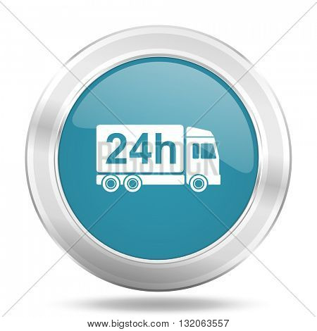 delivery icon, blue round metallic glossy button, web and mobile app design illustration