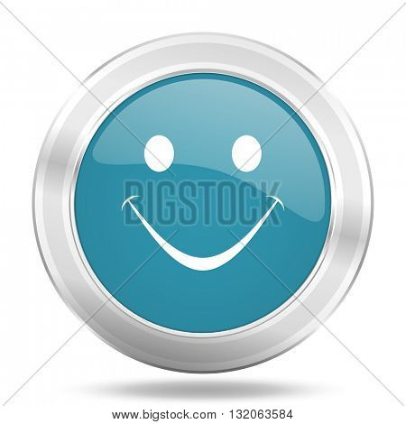 smile icon, blue round metallic glossy button, web and mobile app design illustration