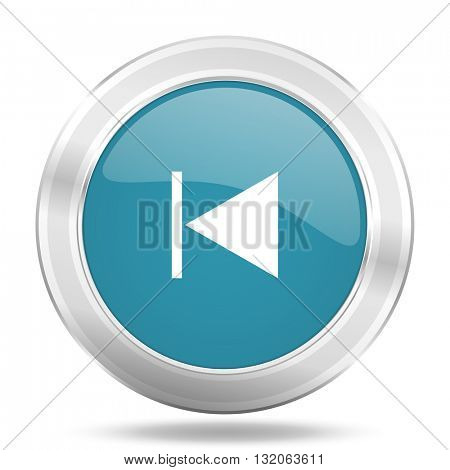 prev icon, blue round metallic glossy button, web and mobile app design illustration
