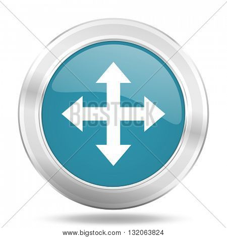 arrow icon, blue round metallic glossy button, web and mobile app design illustration