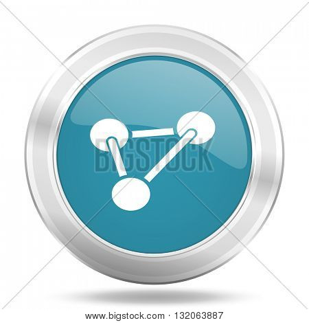 chemistry icon, blue round metallic glossy button, web and mobile app design illustration