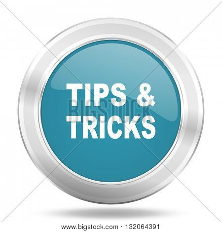tips tricks icon, blue round metallic glossy button, web and mobile app design illustration