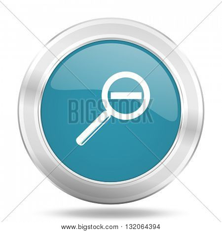 lens icon, blue round metallic glossy button, web and mobile app design illustration