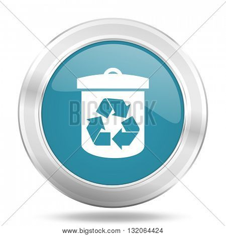 recycle icon, blue round metallic glossy button, web and mobile app design illustration