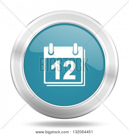 calendar icon, blue round metallic glossy button, web and mobile app design illustration