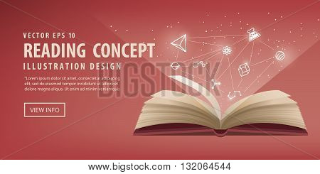Illustration vector the red book are open the icon refers to knowledge and learning.