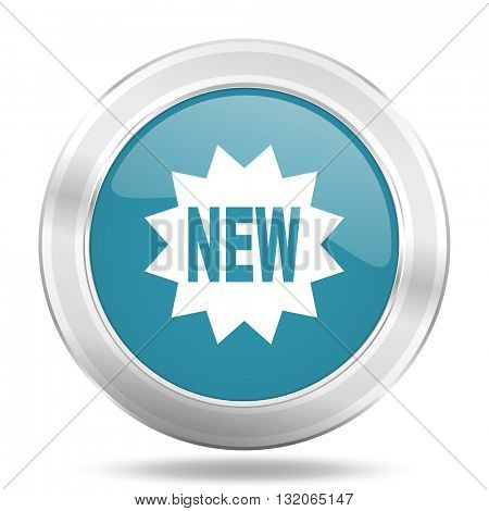 new icon, blue round metallic glossy button, web and mobile app design illustration