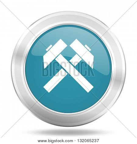 mining icon, blue round metallic glossy button, web and mobile app design illustration
