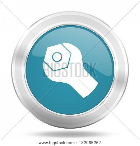 tools icon, blue round metallic glossy button, web and mobile app design illustration